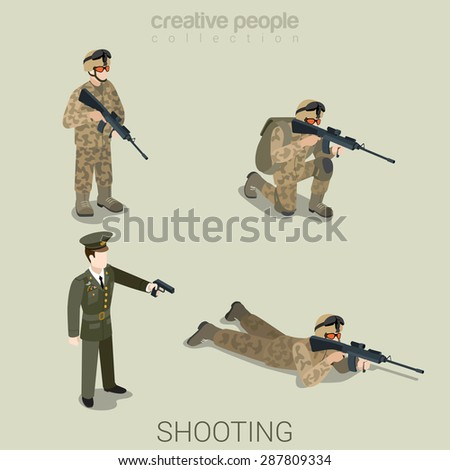 military aiming shooting people