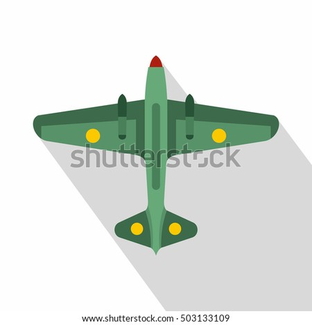 military aircraft icon flat