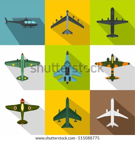 military aircraft icons set