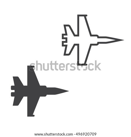 military aircraft line icon