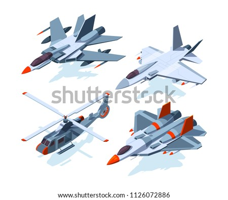 military aircrafts isometric