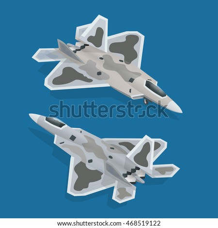 Military airplane at flying. Flat 3d isometric vector illustration. For infographics and design games. Military air transport.