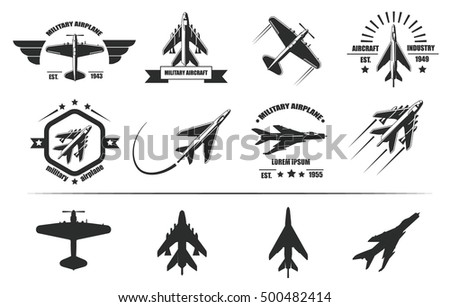 military airplane icons with