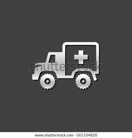 Military ambulance icon in metallic grey color style. Vintage truck vehicle