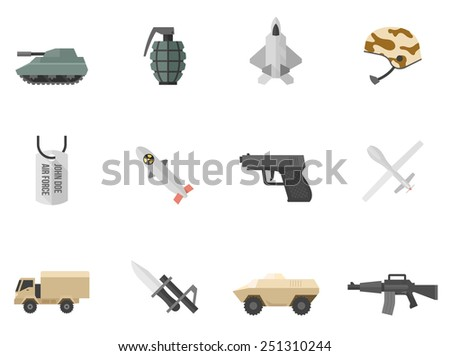 military and weapon icons in