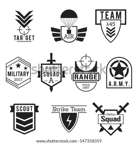 military army like badges logos