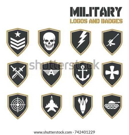 Military Army like Badges Logos Set. Vector Logos Collection Template