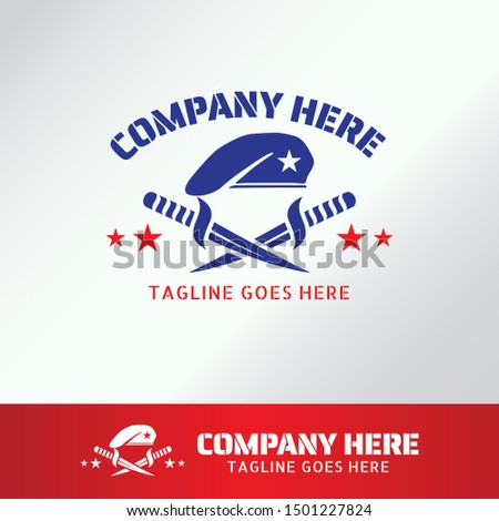 Military Army Logo Template with beret and knife for Business, Company, Association, Club, Organization. Blue Berets