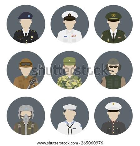 military avatars vector set