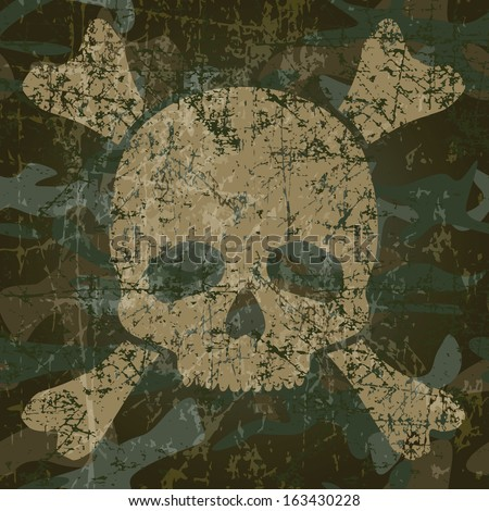 Military background with skull and crossbones (vector illustration)