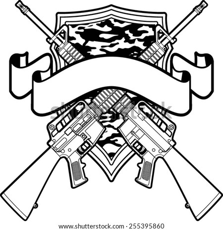 crossed gun vectors download free vector art stock graphics images New Colt Marine 1911 military badge with crossing assault rifles