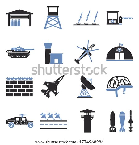 military base icons two tone
