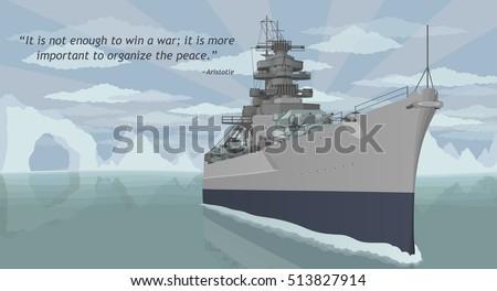 military battleship vector
