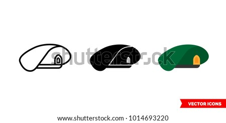 Military beret icon of 3 types: color, black and white, outline. Isolated vector sign symbol.