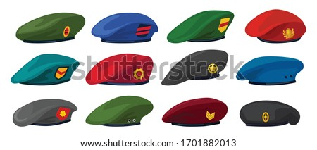 Military beret isolated cartoon set icon. Vector illustration army cap on white background.Cartoon set icon military beret . Сток-фото ©