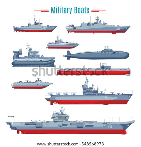 military boats collection with