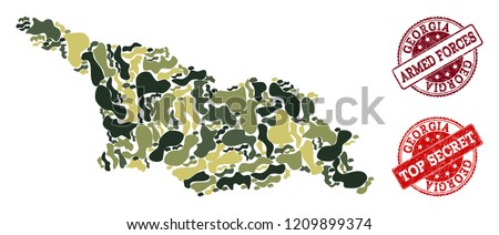 military camouflage collage of