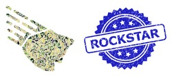 Military camouflage composition of falling rock stone, and Rockstar unclean rosette stamp seal. Blue stamp includes Rockstar caption inside rosette.
