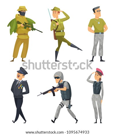 Military characters. Army soldiers male and female. Military man in uniform with ammunition. Vector illustration