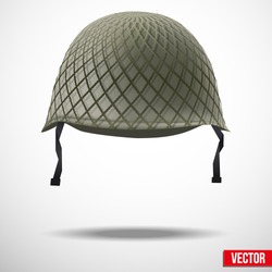Military classic helmet green color. Vector illustration. Metallic army symbol of defense and protect. Isolated on white background. Editable.