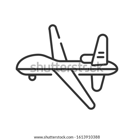 Military drone automatic unmanned control black line icon. Army aircraft for intelligence and attack template. Sign for web page, mobile app, banner, social media. Editable stroke.