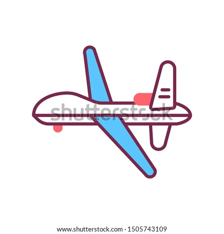 Military drone automatic unmanned control color line icon. Army aircraft for intelligence and attack template. Sign for web page, mobile app, banner, social media. Editable stroke.
