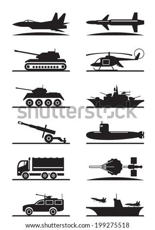 military equipment icon set