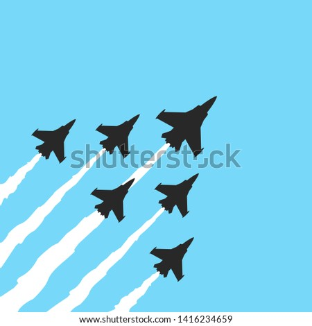 military fighter jets on a blue
