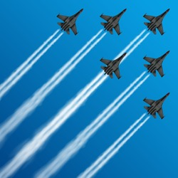 Military fighter jets with condensation trails in sky vector illustration. air, plane, military, show, flight, trail, sky, performance, Airplane army, fighter on airshow