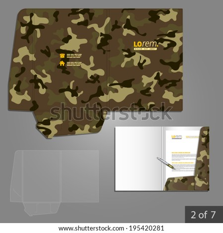 Military folder template design for company with camouflage pattern. Element of stationery.