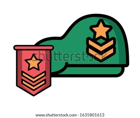 military force green beret with range medal vector illustration design