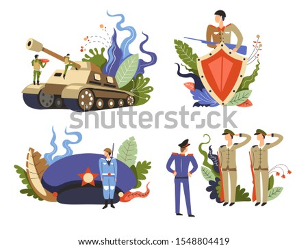 Military forces. Land force unit launching rocket to tank mounted launcher. Army soldiers saluting general officer. Guard armed with gun and shield for protection concept. Uniform cap, star vector.