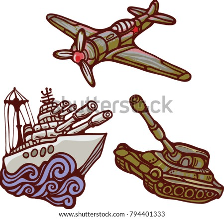 Military forces navy air force marine  vector isolated illustration set