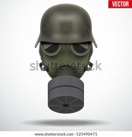 military german helmet with gas