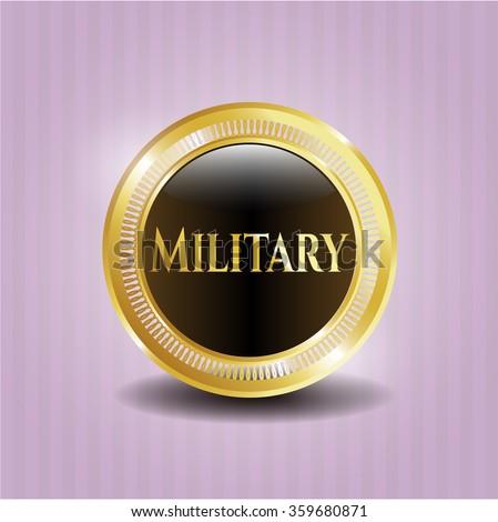 Military gold shiny badge
