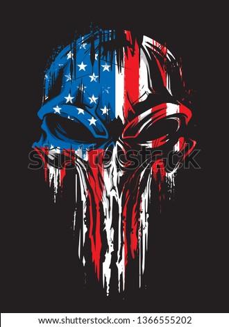 Military Grunge Skull Patriotic