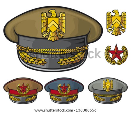 Military hats military officer s caps army caps stock vector