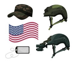 Military head ware, usa flag, silver metal badge for soldier identity isolated set isolated on white background. Cap, protective helmet without and with night vision device. Vector illustration