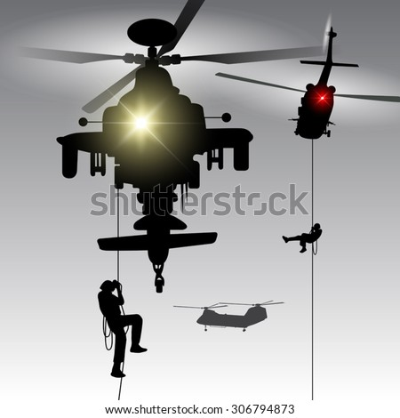 military helicopter drops