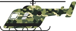 Military helicopter icon. Transport army chopper in camouflage color vector illustration isolated on white background
