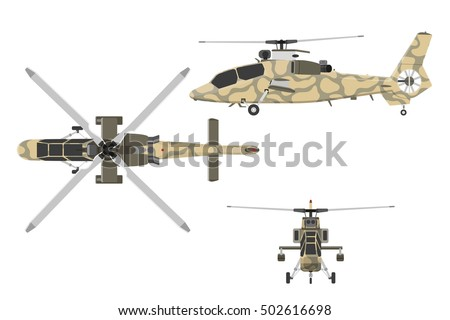 military helicopter in flat