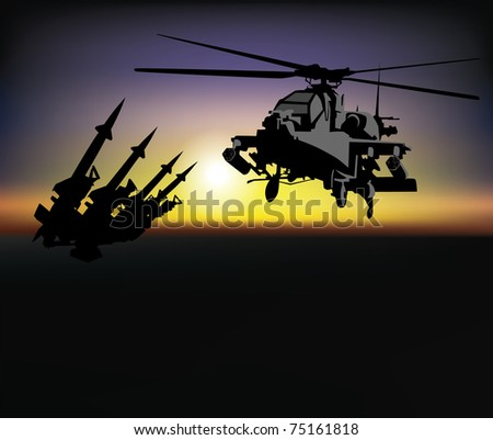 military helicopter on a background of dawn - stock vector