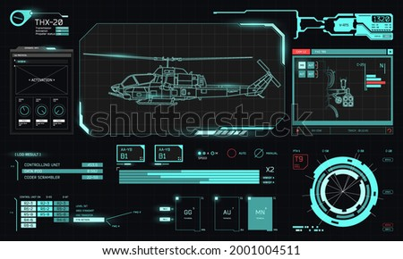 Military helicopter vector illustration graphs chopper rotor ストックフォト ©