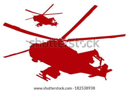 Military helicopters flying. Vector silhouettes