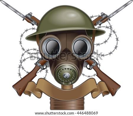 military helmet  gas mask