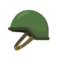 Military helmet vector illustration in flat design with green color isolated on white background
