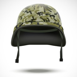 Military helmet with camouflage patterns. Vector illustration. Metallic army symbol of defense and protect. Isolated on white background. Editable.
