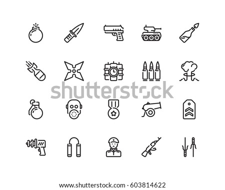 military icon set  outline style