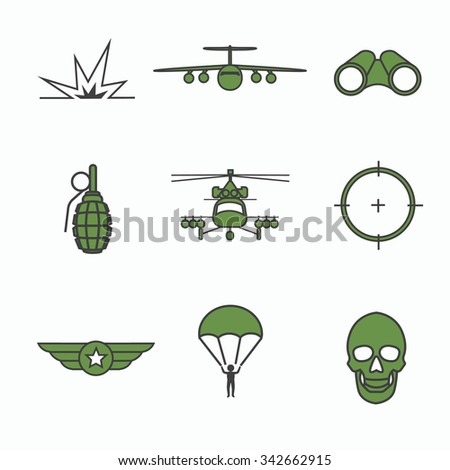 military icon set with military