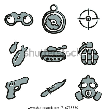 military icons freehand 2 color